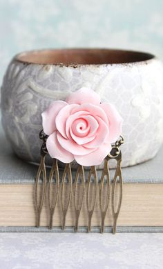 Light Pink Rose Comb Pastel Pink Flower Hair by apocketofposies