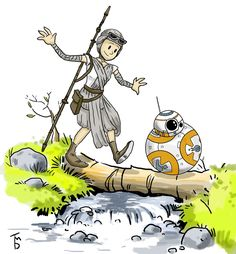 """tduffyworld: """" BB-8 and Rey - Star Wars: The Force Awakens. Calvin and Hobbes. """""""