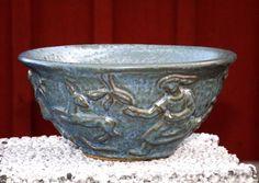 Danish Art Deco Stoneware Bowl by Lauritz Hjorth Bornholm Denmark, Studio Pottery Art Collectables, 1930s, Scandinavia