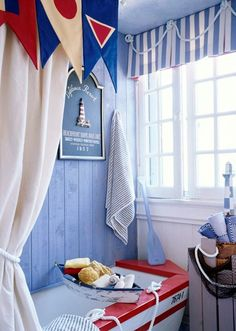 30 Modern Bathroom Decor Ideas, Blue Bathroom Colors and Nautical Decor Themes Kid Bathroom Decor, Nautical Bathroom Decor, Nautical Home, Bathroom Colors, Nautical Bedroom, Nautical Style, Bathroom Interior, Nautical Bunting, Nautical Curtains