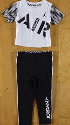 575c31bd406590 Jordan Baby Girls Box T Shirt and Leggings Set Black 2T