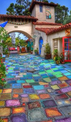 Colorful handmade tiles at Balboa Park in San Diego. I would love having some of these tiles