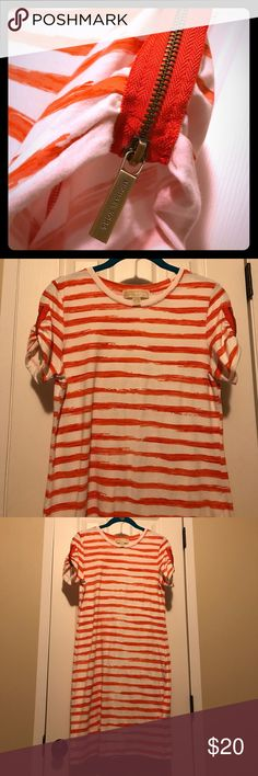 Orange is the new black ! Cute orange and white strip dress. Orange zippers on sleeves to wear up or down. Cotton dress great for any occasion. Good condition with small little pin hole close to the neck as seen in photos. MICHAEL Michael Kors Dresses