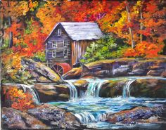 Old Mill Pond will be the August 1, 2016. This 11x14 painting features a fall scene with a gently cascading water fall over weather rocks.
