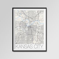 KANSAS CITY map poster, black and white. Modern, Minimalistic Kansas City Map by PFposters.  More styles - Kansas City - maps on the link below https://www.etsy.com/shop/PFposters?search_query=Kansas+City