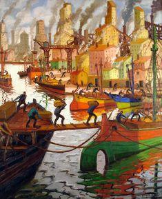 Benito Quinquela Martín Elevadores a pleno sol  , 1945  Óleo sobre tela  200 x 164 cm  Colección Museo Nacional de Bellas Artes