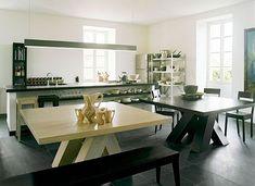 "Black and white European ""bench"" concept kitchen"