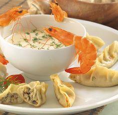 Gyoza kárpáti módra – Receptletöltés Shrimp, Favorite Recipes, Meals, Meal, Yemek, Food, Nutrition