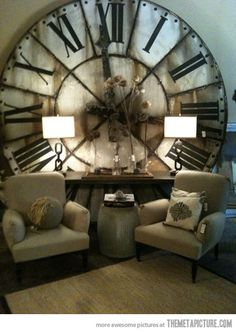 I love the idea of a giant clock face as a focal point in a space!  Too bad I can't just live inside an old clock tower.