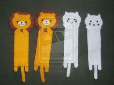 Lions and Cats Felt bookmarks by Initta