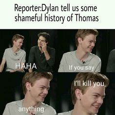 Find images and videos about thomas brodie sangster and and dylan on We Heart It - the app to get lost in what you love. Maze Runner Funny, Maze Runner Thomas, Maze Runner Cast, Maze Runner Movie, Maze Runner Quotes, Thomas Brodie Sangster, Crazy Funny Memes, Really Funny Memes, Funny Relatable Memes