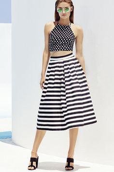 I Still Believe Black and Ivory Striped High-Waisted Midi Skirt
