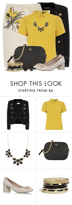 """""""Tory Burch Pencil Skirt, Shoes & Bag"""" by brendariley-1 ❤ liked on Polyvore featuring Yves Saint Laurent, Dorothy Perkins, Charlotte Russe, Tory Burch, GUESS and Kate Spade"""