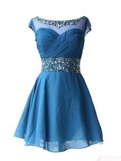 Round Neck Open Back Chiffon Short  Mini Homecoming Cocktail Dress #homecomingdresses #SIMIBridal