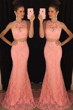 Prom Dresses,Evening Dress,Party Dresses,Mermaid Lace Two Pieces Prom Dresses For Teens,Girly Evening Dresses,Classy Prom Gowns,Cheap Party Prom Dresses