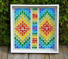 Serving tray white with rainbow glass mosaics by mimosaico on Etsy