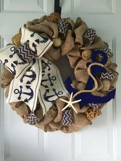 Nautical Anchor Wreath Rustic Burlap Coastal Beach Wreath Starfish Navy Seaside Home Decor. Nautical Anchor Wreath Rustic Burlap Coastal by wreathsplusbylyn. Burlap Crafts, Wreath Crafts, Diy Wreath, Diy And Crafts, Arts And Crafts, Wreath Ideas, Anchor Wreath, Nautical Wreath, Nautical Anchor