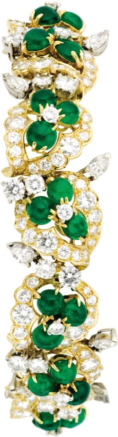 Diamond, Emerald, and Gold Bracelet set in 18k yellow gold and platinum, French, circa 1960s. (=)