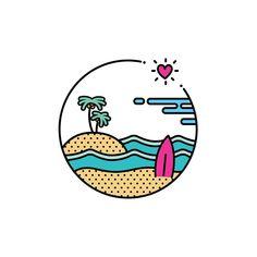 컬러 버전 썸머비치엠블럼. . . . #로고 #로고제작 #로고문의  #엠블럼 #심볼 #디자인 #바다 #해변 #파도 #여름 #휴가 #서핑 #섬 #하와이 #야자수 #logo #emblem #design #symbol #ocean #beach #wave #summer #vacation #surfing #hawaii #color #popart #vector