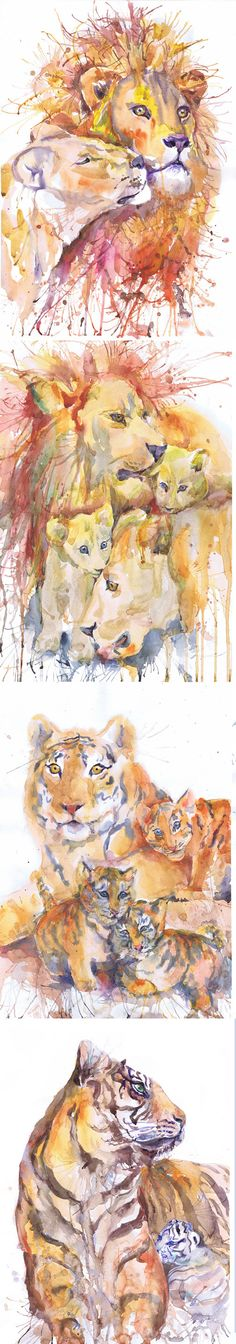 ACEO Artist Trading Cards Art Prints Watercolor Painting Wild Cats Animals ATC Giclee Big Cat Set of 9 Signed Collectible Card Watercolourr Set of 9 Signed Aceo prints of my original watercolor paintings - series Portraits of the Heart : lion and lioness lion with baby lion lions family