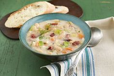 Chunky with white beans and sausage and creamy with cream cheese spread, this vegetable soup is sure to become a new family favorite.