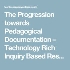 The Progression towards Pedagogical Documentation – Technology Rich Inquiry Based Research Ministry Of Education, Early Learning, Curriculum, How To Become, Technology, Writing, Reggio, This Or That Questions, Mindset