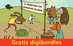 Prentenboek: De wedstrijd van Schildpad en Haas- Lesbrief en digibordles  Rian Visser Pre School, Have Fun, Banner, Sport Thema, Education, Comics, Logos, Kids, Banner Stands