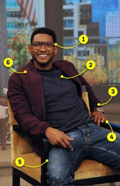 We're on Team Usher for his geek chic sense of style