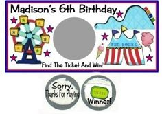 10 Carnival Fair Birthday Party Or Baby Shower Scratch Off Game Cards Tickets