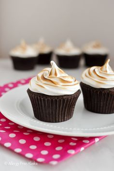 These are SO much fun to make and decorate! Gluten Free Chocolate Cupcakes with Toasted Marshmallow Frosting - Allergy Free Alaska