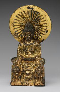 Buddha, probably Shakyamuni (Shijiamouni), Sixteen Kingdoms period (304–439), late 4th–early 5th century  China  Gilt bronze, piece-mold cast  H. 6 1/2 in. (16.5 cm)