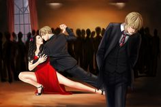 Tango, Argentina dancing with Chile, while England feels dejected. Latin Hetalia- Healia