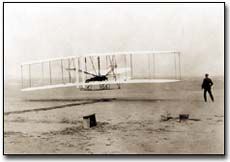 Picture of the first flight at Kitty Hawk