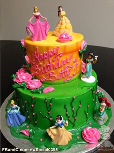 Social 0395 | Buttercream iced and piped design for this Disney Princess cake. Choose from our figurine sets or bring in your own toy and we'll create for you a cake to remember! Disney Cakes, Specialty Cakes, Disney Princesses, No Bake Cake, Birthday Cakes, Sweet Treats, Bakery, Barbie, Toy
