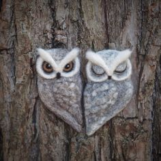 needle felted OWL BROOCH  grey brown felt owl  by TheLadyMoth