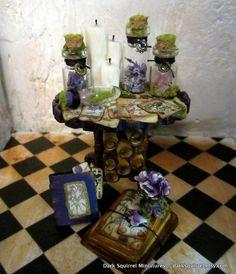 Botanical Mini Table ooak dollhouse miniature in by DarkSquirrel
