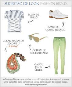 Sugestão de Look: Calça Jeans Verde + Blusa de Tricô + Sapato de Couro Branco + Óculos de Sol Dourado + Colar Miçanças Colorido (por R$145,60 na Fashion Bijoux). Para comprar, acesse: www.fashionbijoux.com.br