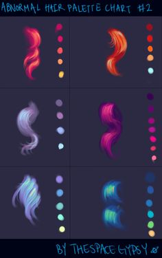 #Colouring #ColourScheme Abnormal Hair Color Palettes: Supplement Chart #2 by TheSpaceGypsy.deviantart.com on @deviantART