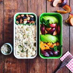 Breakfast bento!overnight oats with plenty of nuts, seeds, and fruit!