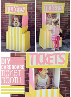 DIY cardboard ticket booth by The Busy Budgeting Mama