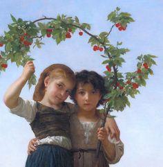 """The Cherry Branch"" (detail), 1881, William Adolphe Bouguereau."