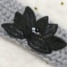 Headband turban laine grise et bijoux Les Créa de Marie