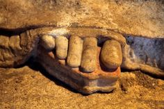 Amphipolis, Macedonia Greece: The left foot of the West Caryatid - This detail photo shows the beautifully carved toes and the sandal [kothornoi; raised sole shoe] on her foot, with traces of red and yellow pigment. Ancient Greek Sculpture, Ancient Greek Art, Ancient Greece, Classical Greece, Classical Period, Greek History, Roman History, Ancient Tomb, Ancient Ruins