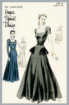 Vintage Vogue S-4259 Special Desigm sewing pattern 1940s 40s evening gown cocktail wedding dress molded bodice peplum skirt