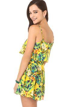 Flor do verão espaguete novo design de dupla camada de renda patchwork tira uma peça vestido haoduoyi em Vestidos de Roupas & acessórios no AliExpress.com | Alibaba Group