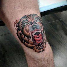 knee tattoo bear neo-traditional