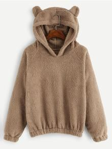 Teddy Bear Long Sleeve Hoodie Sweatshirt