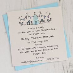 Are you interested in our Handmade Christening Invitations? With our Personalised Christening Invitations you need look no further. Christening Invitations Boy, Baby Boy Christening, Christening Gifts, Mickey Mouse Birthday Invitations, Baby Gifts To Make, Invitation Examples, Baby Dedication, Naming Ceremony, Baptism Party