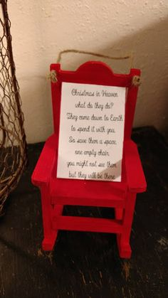 Christmas in heaven rocking chair ornament Christmas In Heaven Poem, Christmas Poems, Diy Christmas Ornaments, Diy Christmas Gifts, Christmas 2019, Holiday Crafts, Christmas Neighbor, Christmas Lanterns, Ornament Crafts