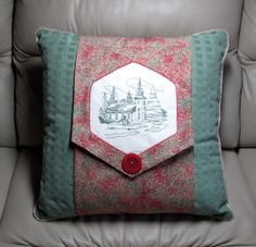 Machine embroidered Christmas throw pillow wrap.  Fake button closure, velcro dots actually hold the wrap closed. Dec. 2013